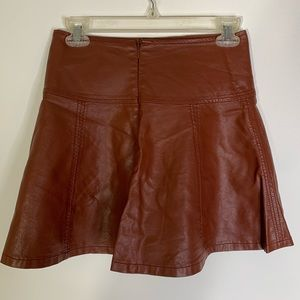 Forever 21 faux leather brown tan skirt Sz small